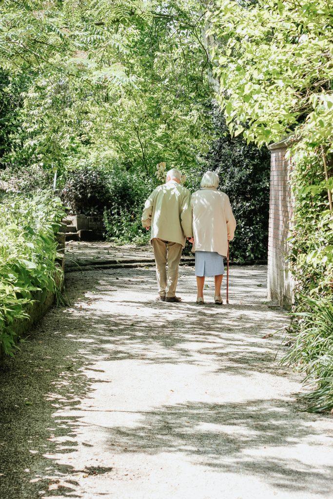 Renterpaar von hinten, beim Spaziergang